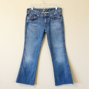 """7 For All Mankind   """"A"""" Pocket raw hem flare jeans"""